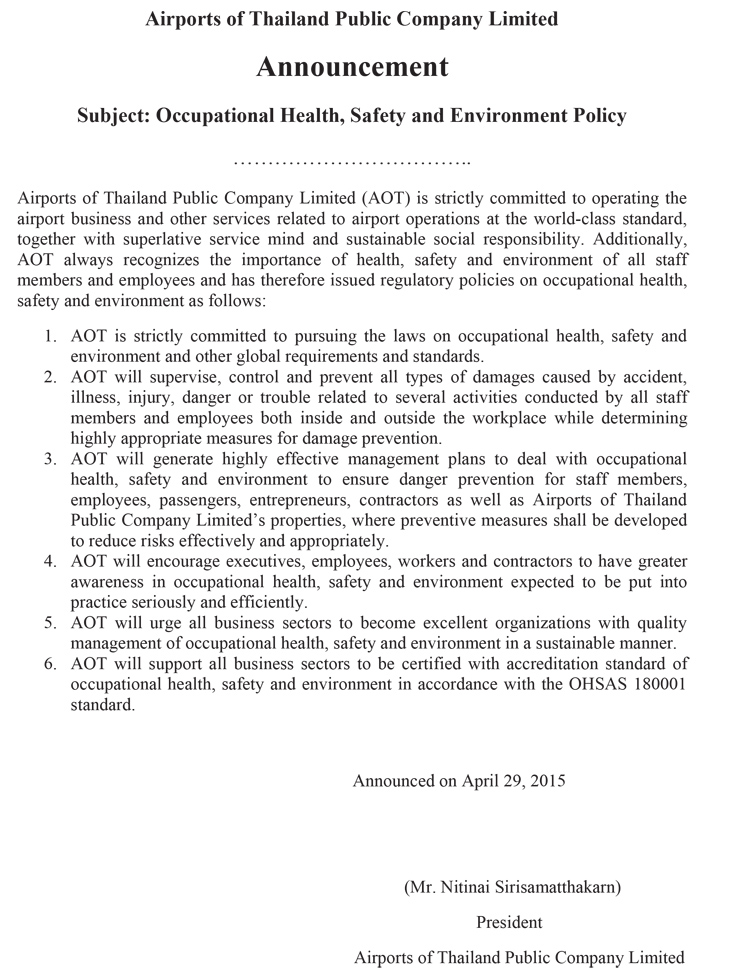 Occupational Health,Sfety and Environment Policy